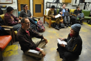 Participants practice the radical art of listening at Jen's Verbatim Theatre Master Class, fall 2014.